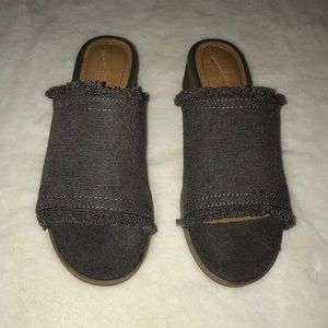 Frayed grey denim kitten heels